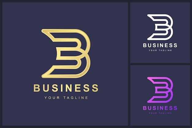 Minimalistisches logo-schablonendesign des buchstabens b.