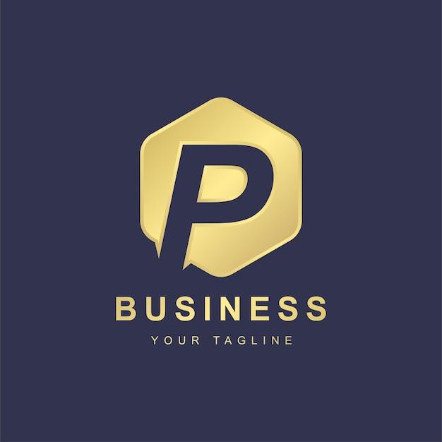 Minimalistisches logo-vorlagendesign für buchstaben p.
