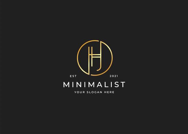 Minimalistisches luxuslogo des buchstaben h mit kreisform-designschablone