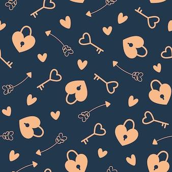 Minimalistisches nahtloses muster im flachen stil für valentinstag