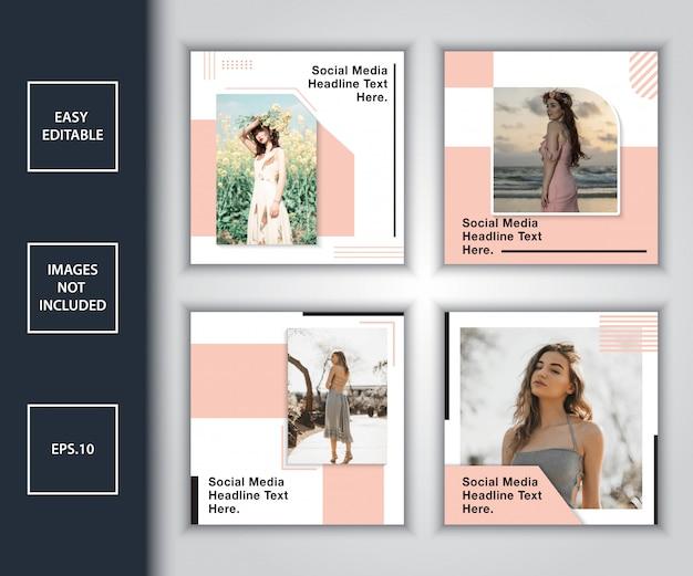 Minimalistisches post-design-vorlagenpaket für soziale medien