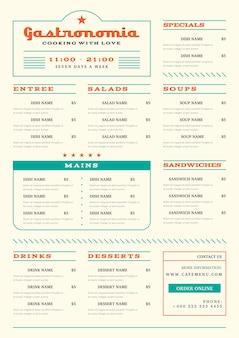 Minimalistisches restaurantmenü im vertikalen format