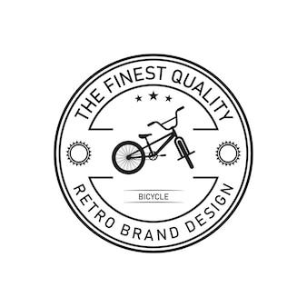 Minimalistisches retro-fahrrad, logo-designvektorschablone
