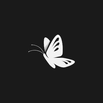 Minimalistisches schmetterlingslogo in schwarz-weiß