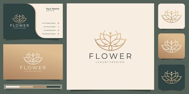 Minimalistisches schönheitsblumen-rose-logo-design. goldfarbe, linienstil, weiblicher salon und visitenkarte.