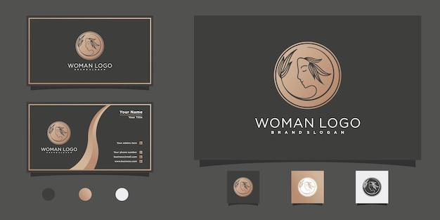 Minimalistisches schönheitsfrauengesichtslogodesign mit goldfarbverlauf für schönheitssalon premium vektor