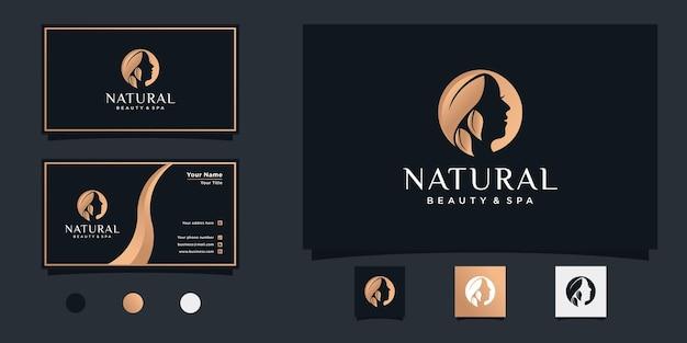 Minimalistisches schönheitslogodesign mit kombinationsblatt und gesicht und visitenkarte premium-vektor