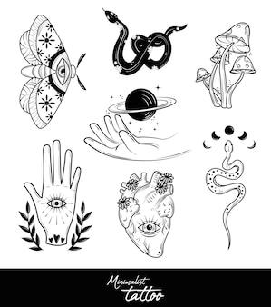 Minimalistisches schwarz-weiß-tattoo-set