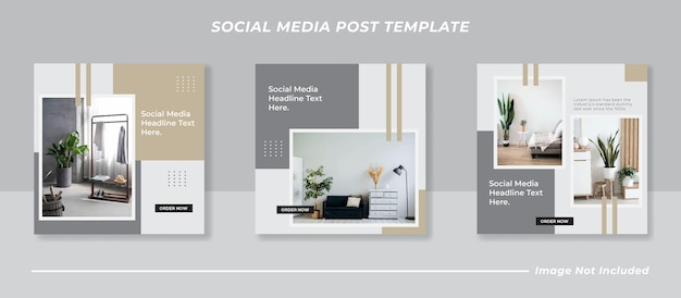 Minimalistisches social media instagram feed post banner bundle