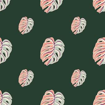 Minimalistisches sommernahtloses muster mit rosa und blau gefärbten monstera-blättern. grüner hintergrund. vektorillustration für saisonale textildrucke, stoffe, banner, hintergründe und tapeten.