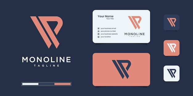 Minimalistisches v- und p- oder vp-logo-monogramm, alphabet, buchstabe, anfängliche designvorlagen.