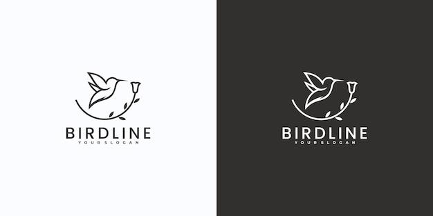 Minimalistisches vogellogo mit strichzeichnungen und blattkombination