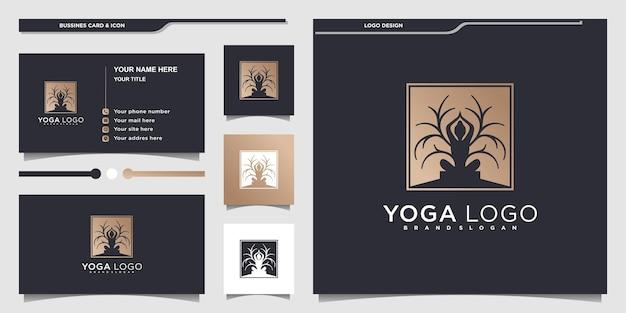 Minimalistisches yoga-logo-design mit kombinierter menschlicher meditation und baum premium-vektor