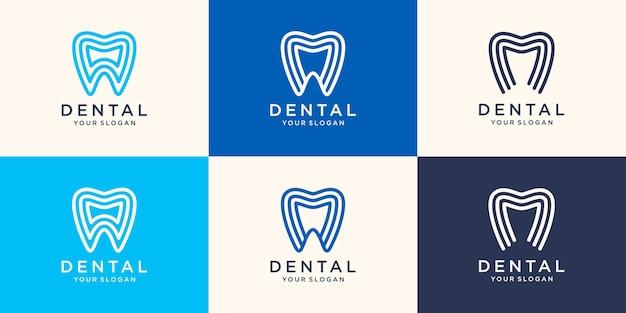 Minimalistisches zahnmedizinisches logo mit strichzeichnungsart-designschablonenvektorillustration