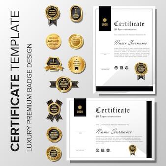 Minimalistisches zertifikat mit abzeichen