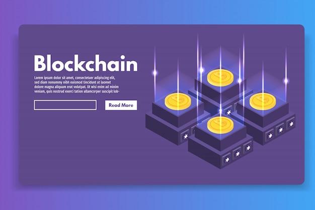 Mining bitcoin farm ultraviolettes isometrisches konzept. vektorillustration.
