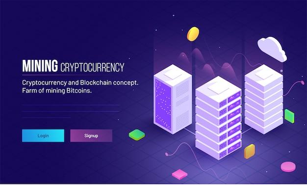 Mining cryptocurrency reagiert auf das heldenbild.