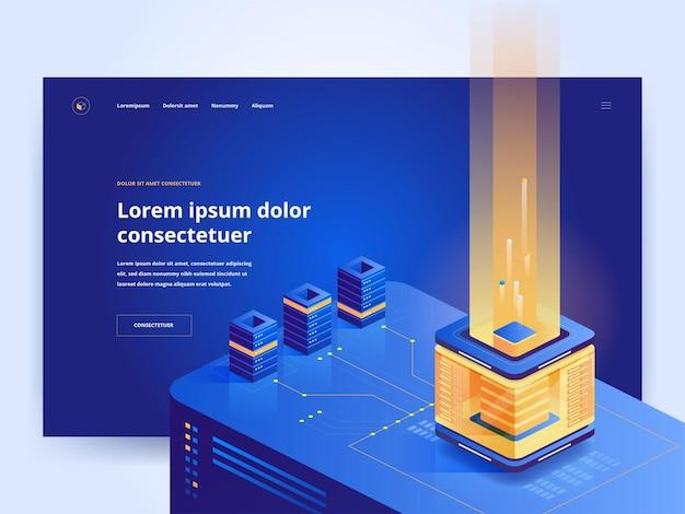 Mining farm blaue zielseiten-vektorvorlage. ui-idee für die homepage der kryptowährungs-website mit isometrischen illustrationen. blockchain-technologie, e-commerce-webbanner dunkle farbe 3d-konzept