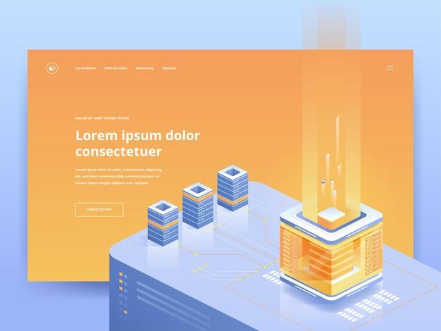 Mining farm orange landing page vektorvorlage. homepage-ui der kryptowährungs-website, ux-idee mit isometrischen illustrationen. blockchain-technologie, e-commerce-web-banner in hellen farben 3d-konzept