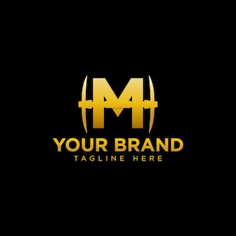 Mining gold buchstabe m logo icon vorlage