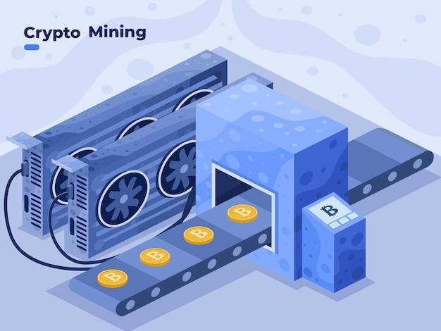 Mining-kryptowährungsmünze mit gpu-karte oder computer-grafikkarte-vektorillustration