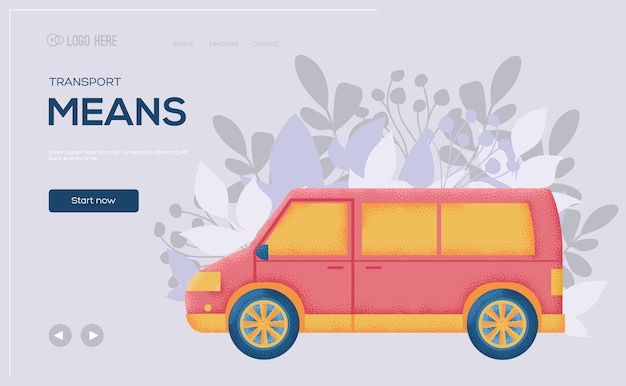 Minivan auto konzept flyer, web-banner, ui-header, website betreten. .