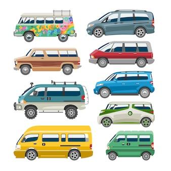 Minivan auto van auto fahrzeug familie minibus fahrzeug und auto banner isoliert stadtauto auf weißem hintergrund illustration