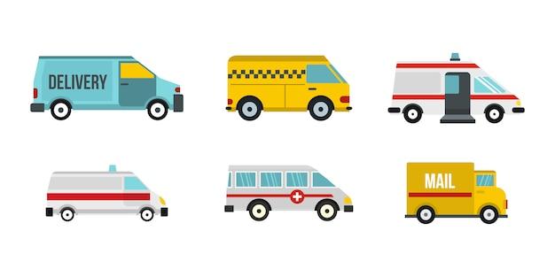 Minivan-icon-set. flacher satz der minivanvektor-ikonensammlung lokalisiert