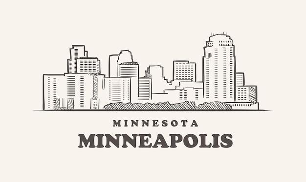 Minneapolis skyline minnesota gezeichnete skizze