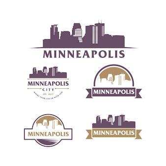 Minneapolis skyline und wahrzeichen silhouette vektor