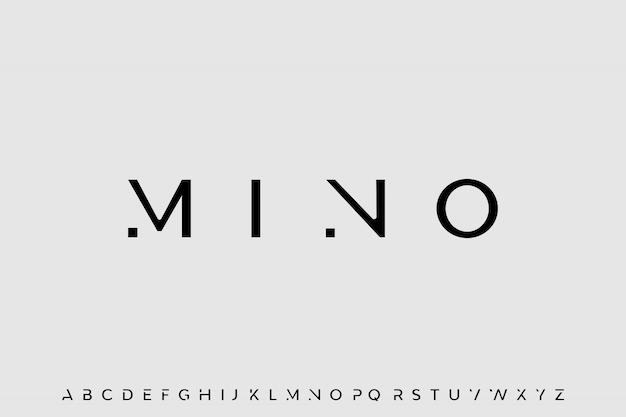 Mino, eleganter minimaler schrift-alphabet-vektor