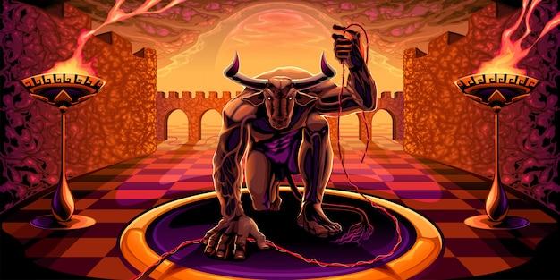Minotaurus im labyrinth mit einem faden in der hand