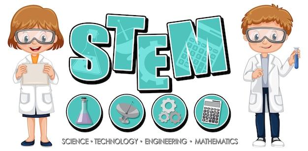 Mint-bildungslogo mit wissenschaftlerkinderzeichentrickfilm-figur