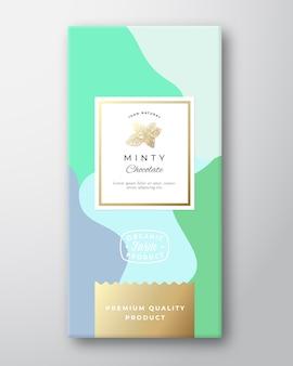 Minty chocolate packaging design layout mit weichen realistischen schatten. moderne typografie, handgezeichnete minze gewürzzweig silhouette
