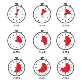 Minuten-symbol. stundenuhr symbole mal minuten zahlen tag fünf sammlung.