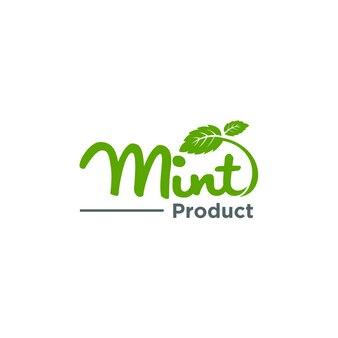 Minze, bio-logo-konzept