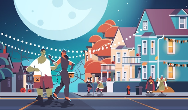 Mischen sie rassenleute in kostümen, die in stadttrick gehen oder süßes halloween-feierkonzept-grußkarte horizontale vektorillustration in voller länge behandeln