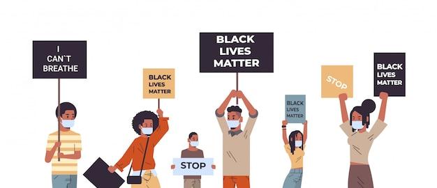 Mischen sie rassenprotestierende mit schwarzen lebensbannern, die gegen rassendiskriminierung und soziale probleme des rassismus protestieren