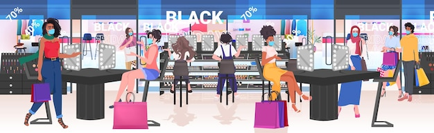 Mischen sie rennfrauen in masken, die kosmetik im schönheitssalon schwarzer freitag wählen, großes verkaufskonzept horizontale vektorillustration in voller länge