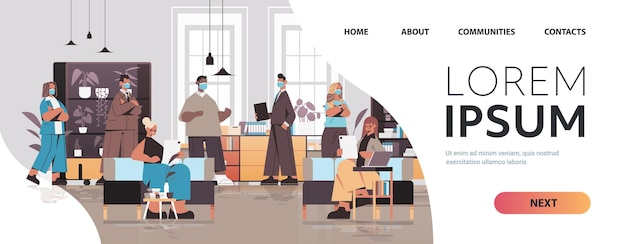 Mischen sie renngeschäftsleute in masken, die im teamwork-konzept des coworking centers zusammenarbeiten und sprechen