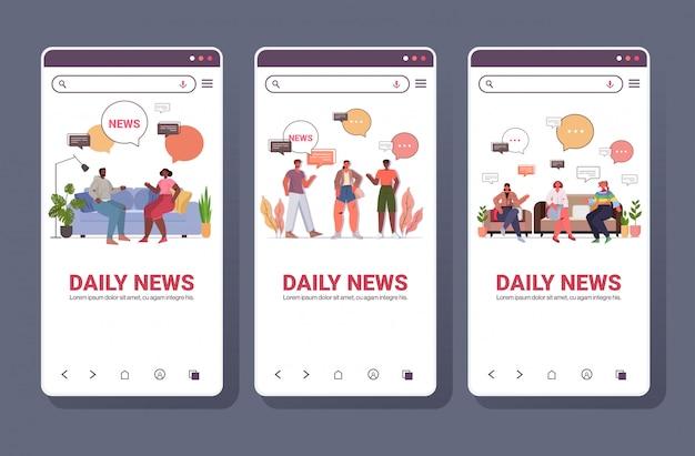 Mischen sie rennleute, die tägliche nachrichten während des kommunikationskonzepts der chat-blase diskutieren. smartphone-bildschirme sammlung voller länge kopierraum horizontale illustration