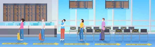 Mischen sie rennpassagiere, die abstand halten, um zu verhindern, dass das interieur des flughafenterminals horizontal ausgerichtet ist