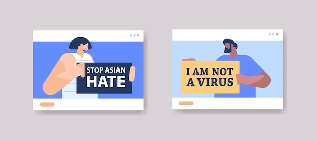 Mischlinge, die textplakate gegen rassismus halten. stoppen sie asiatischen hass