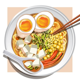 Miso ramen mit weich gekochten eiern