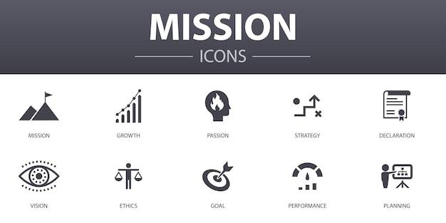 Mission einfaches konzept icons set. enthält symbole wie wachstum, leidenschaft, strategie, leistung und mehr, kann für web, logo, ui/ux verwendet werden