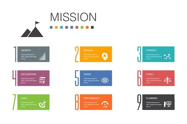 Mission infographic 10 optionszeilenkonzept. wachstum, leidenschaft, strategie, leistung einfache symbole