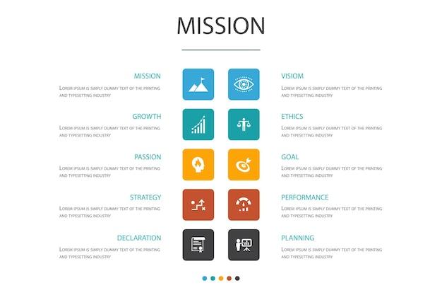 Mission infographic cloud design template.wachstum, leidenschaft, strategie, leistung einfache symbole