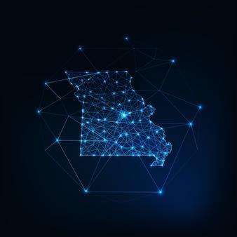 Missouri state usa karte leuchtende silhouette umriss aus sternen linien punkte dreiecke, niedrige polygonale formen. kommunikations-, internet-technologie-konzept. drahtmodell futuristisch