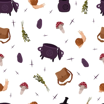 Mistyc nahtloses muster mit hexerei-design-elementen: pilz, kräuter, tasche, bowler.vector hand gezeichnete illustration.
