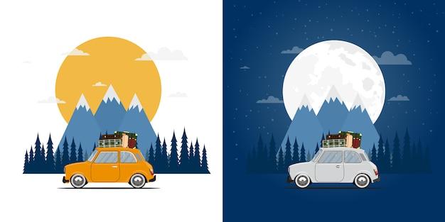 Mit dem auto reisen. ausflug. reisezeit, tourismus, sommerurlaub, tag und nacht.